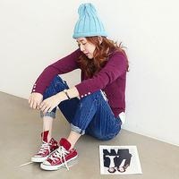 Fanshou Free Shipping 2015 Women Hats Fashion Knitted Winter Hat Candy Color Cute Beanies Solid Women Cap Casual Gorro Invierno