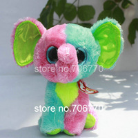 """IN HAND!  NEW 2014 TY BEANIES BOOS ORIGINAL Justice ~Elfie ~Colorful Elephant ~ 6"""" 15CM plush big eyes Stuffed TOY ~MINT~"""
