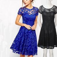 new plus size women clothing Bodycon peplum flower lace dress slash o-neck sexy evening mini dress black  blue S M L