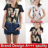Brand Design summer clothes ladies Top tee shirts  Marilyn Monroe t shirt feminina sexy short sleeve cotton clothing tshirts