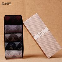 5 pairs/lot High Quality Bamboo Men's Cotton Breathable Socks Classic Business Brand Man Socks Thermal Socks Men  Plaid socks NM
