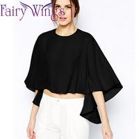 2015 Women Blouses Spring Summer Chiffon Batwing Half Sleeve O Neck Casual Blusas Femininas Blouse Shirt Elegant XXL PH2730