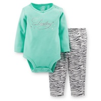 Original Carter's Baby Girls Green Bodysuit Zebra Striped Pant Set, Carters 2 Pieces Clothing Set,  Freeshipping