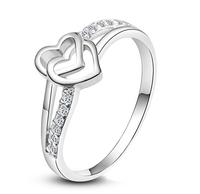 2014 Top princess fiash Heart-shaped diamond Quality White  Fashion Diamond Wedding Rings For Women New Arrival 934
