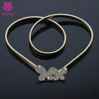 2014 New fashion gold elastic belts women's chain all-match gold belt decoration Youkee diamond belt Free shipping