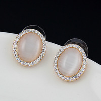 Good new fashion personality golden droplets opal earrings simple quality wholesale