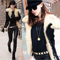 Latest Small chili fur lamb wool canvas locomotive short coat jacket roupas femininas lapel jackets women jackets outwear coats