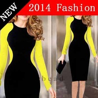 2014 new fashion casual tropical vestidos desigual white bandage party dresses sexy bodycon long sleeve winter dress 1111LX