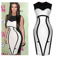 YRM New 2015 European Style Sexy Slim Package Hip Women Dress Sleeveless Hit Color Knee Length Bodycon Dresses