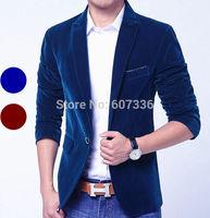 Good Quality Fashion 2014 Terno Blue Red Velvet Masculino Blazer Men, Wedding Dress Traje Hombre Blazer