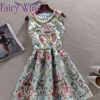 2015 Spring Dress Women Casual Dress OL Slim Print Vintage Sleeveless Pleated Vestidos Elegant Women Party Dress XXL PH2715