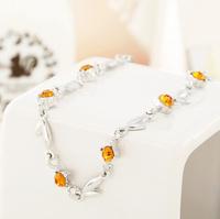 18.5+chian 5 cm Crystal elements bracelet Women leaf Bracelet Jewelry Free shipping