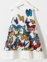 New Girls Butterfly Pattern Dresses  Summer Kids Brand White Vest Dress Wear 6 pcs/lot,Wholesale