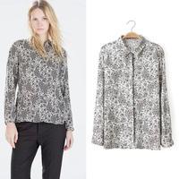 2015 Fashion Women Casual Blouses turn-down collar Long Sleeve Blouse Floral Prints Chiffon Shirt Top Drop Shipping brand tops