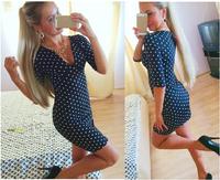 2015 Spring Summer Cotton Fashion Dress Women European Style Slim Bodycon Dress Half-sleeved Dot Print Dresses Discounts