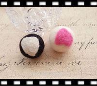 35MM 10Pcs ( Pure Handmade & Wool felt) 3D Heart in Round Woolen Wire Jewelry Findings & Garment  Accessories