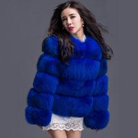 100%  Real Women Genuine Fox Fur Coat Whole Skin Fur Outwear Coats Medium Long Women Jacket