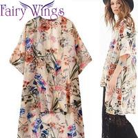 New 2015 Spring Summer Woman Blouses Tassel Print Cardigan Casual Short Sleeve Kimono Ladies Chiffon Shirt PH2723