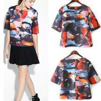 2015 New Women's Shirt Full Sleeves DigitalPrint Colourful High Qulity Blouse Plus Size Lady Elegant Short Blouses Brand shirts