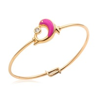 New Cute Lovely  18K Yellow Gold Plated Pink Dpphin Play CZ Ball Bracelets Bangles Fashion Jewelry For Baby Toddler