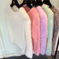2015 Spring New Women Keep Warm Mohair Sweater Fashion Casual O-Neck Pullover Cotton Knit Winter Clothes Pullover Female