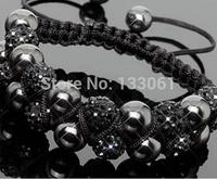 Stretch Elastic Shamballa Bracelets 10mm Red/Yellow/Black/Blue/Pink Crystal Ball Shambala Jewelry New Arrivel 23 Colors SM-10