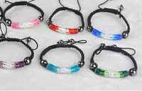 Stretch Elastic Shamballa Bracelets 10mm Red/Yellow/Black/Blue/Pink Crystal Ball Shambala Jewelry New Arrivel 23 Colors SM-9