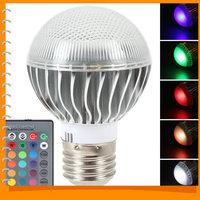 E27 7020 RGB LED Lamp 3W AC 85-265V RGB Cree LED Bulb Light Remote Control Changeable LED Bulb with 16 Colors + Remote