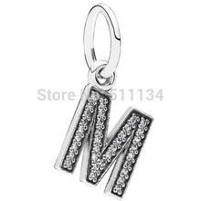 925 Sterling Silver Bead Fit Pandora Charm Bracelet & Necklace Authentic European Clear CZ Dangle Letter M