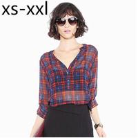 XS-XXL Spring And Summer New Shirt Of  Women Fashion Classic Check Perspective Roll Sleeve Chiffon Shirt Button Female Shirt