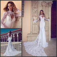 Julie Vino Wedding Dress 2015 Sexy Backless Beaded Long Sleeve Lace Mermaid Wedding Dresses With Detachable Skirt Train