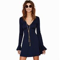 2015 New Arrival Casual Winter Dresses Women Empire Long Sleeve MIDI Sexy Party Bodycon Dress Roupas Femininas Blue