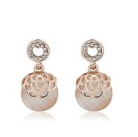 Fashion jewerly Bright hollow Earrings Rose opal Earrings Stud Earrings  Free Shipping