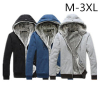 Men's plush thick warm overcoat winter wear coat fleece cotton padded Jacket Men hoodie