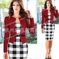 New Quality Women Elegant Long Sleeve Autumn Winter Work Patchwork Business Clothing Party Pencil Sheath Plus Size Bodycon Dress