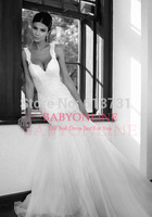 2014 New Sexy Sleeveless Sweetheart Lace Applique Backless Tulle Mermaid Wedding Dresses Bridal Gowns Free Shipping BS2327