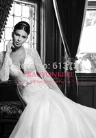 2015 New Sexy Long Sleeve V Neck Lace Applique BacklessTulle Sash Wedding Dresses Bridal Gowns Free Shipping BSP2328