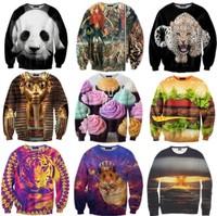 2015 Fashion Pullovers Hoodies Sweatshirts For Men/Women Ice Cream/Leopard/Rose Pullovers 3d Animal Sweatshirts Lovers Hoody Men