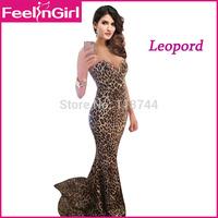 Long Evening Dress 2015 New Sweep Train Lepord Print Dresses Elegant Mermaid Dress to Party Sexy Sleeveless Club Dress 3