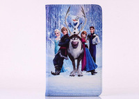 Cartoon lovely Frozen Elsa & Anna stand Sleep PU leather case cover for Samsung Galaxy Tab 4 8.0 T330 T331 T335