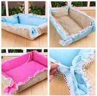 1set/lot Square Soft Winter Pet Cushion Mat Dog Cat Puppy Pet Lace Tie Beds Nesting Fleece Warm Plush Mat Pad S/M/L FK676037