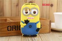 For Samsung Galaxy Y S5360 Cute Cartoon Soft Silicon Rubber Back Cover Despicable Me 2 Minions Yellow Minion Case FA014