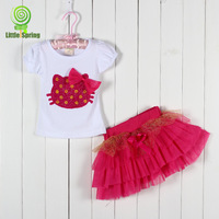 Summer kids outfits Korean Hello Kitty bowknot short sleeve T-shirts+lace skirt sweet girls 2pcs sets small children suit GX296