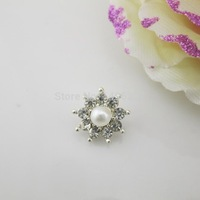 (OY423 14mm)Tiny 100Pcs Faux White Pearl Clear Crystal Shank Rhinestone Button For Fabulous Sewing Costume Craft