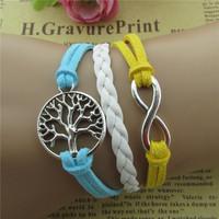 2015Hot sale Europe infinite love tree color restoring ancient ways velvet rope leather cord bracelet pulseras