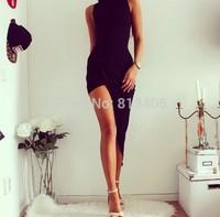 European&American Fashion Women Sexy Long Dress Sleeveless Turtleneck Bodycon Stretch Black Cotton Asymmetrical Vest Dress H131