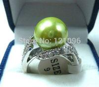 Beautiful green fresh shell pearl woman's ring  +13