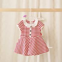 2015 New summer baby girls striped dress children casual cotton dress button red/blue 5 pcs/lot wholesale 2073