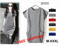 Free shipping M XXXL Classic best-selling Autumn Winter Women's woolen Dress Sweaters Casual Pocket Dresses For Women