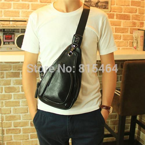 Free shipping black coffee PU leather men fanny pack women waist pouch,korean designer brand unisex chest bag pochete(China (Mainland))